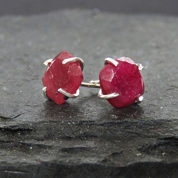 Raw ruby earrings, square rough deep red ruby studs, natural ruby earrings in prong setting, genuine unique ruby studs