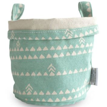 Triangles Recycled Canvas Bucket (Blue)