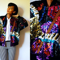 Vtg Music Lover Sequined Instruments Colorful Zip Up Bomber
