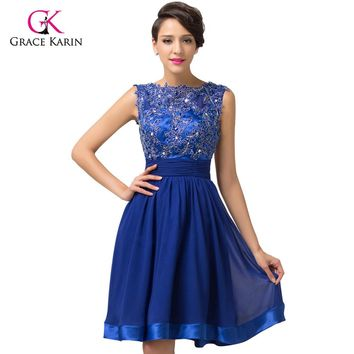Backless Lace Short Royal Blue Chiffon Homecoming Dresses knee length quinceañera/Prom Dress