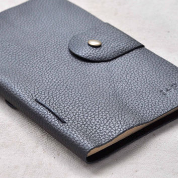 Refillable black Leather Journal,initials leather notebooks(Free stamp)