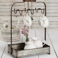 Tabletop Mug Rack With Tray Kitchen Counter Organizer Storage Accessories Decor