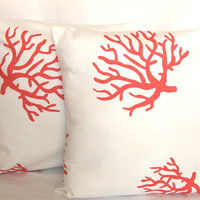 Coral Pillow Covers - TWO 18x18 inch Reef Decorative Cushion Covers - Coral Reef on White,  More Sizes Available