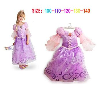 Fantasia Vestidos Children Kids Girl Cosplay Dresses Rapunzel Costume Sofia Princess Dress Sleeping Beauty Dress Perform Clothes