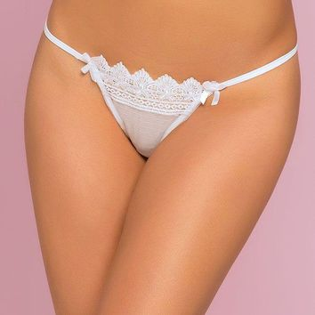 White Crochet Lace Thong in S