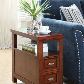Perrie collection cherry finish wood chair side end table with pull out drawer