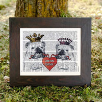 Custom this funny couple of English Bulldogs in love dictionary print - on Vintage Upcycled Dictionary page - by NATURA PICTA