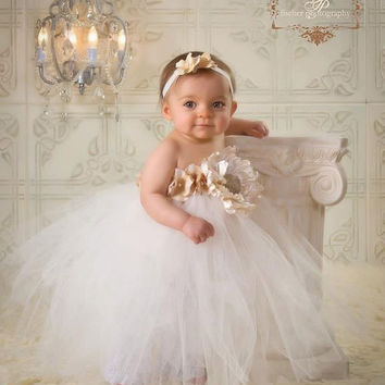 Baby Dress - Luxe Gold and Ivory Tutu Dress with Large Ivory Satin Pearl Flower and Gold Hydrangea Petals & Matching Headband