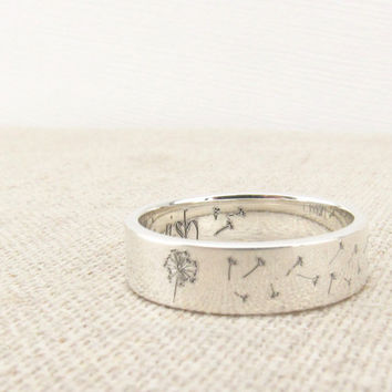 Dandelion Ring - Jewelry -  Wish Ring - Silver Ring - Engraved Ring - Flower Ring