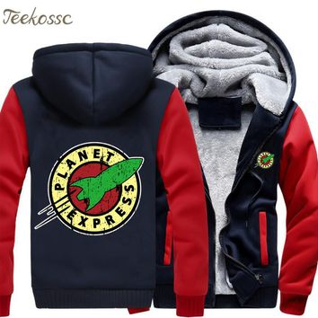 Planet Express Hoodies Men Punk Hooded Sweatshirt Print Coat New Brand Winter Thick Fleece Warm Zipper Jacket Hip Hop Sportswear