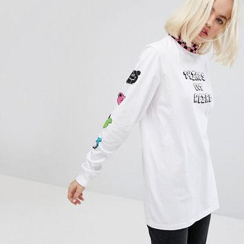 Lazy Oaf Oversized Long Sleeve T-Shirt With Things Got Weird And Arm Print at asos.com