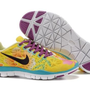 Women's Nike Free TR FIT 3 Print Limited Training Shoes Yellow/Flower Orange