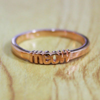 Pro Love  Meow Ring Gold or rose gold Sizes 58 by TawnieandBrina