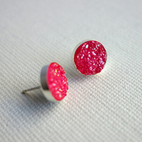 Handmade Rose Pink Druzy Studs in Sterling Silver with Sterling Posts