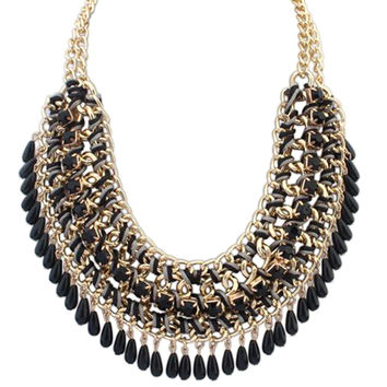 Layered Bohemian droplets Chain Necklace Vintage Choker Pendant Chunky Statement Bib Jewelry 4 Colors for Women SM6