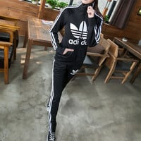 """Adidas"" Fashion Casual Stripe Clover Letter Print Long Sleeve Cardigan Set Two-Piece Sportswear"