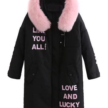 Black Padded Letter Print Faux Fur Collar Hooded Parka