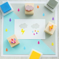 Rain Cloud Hand Carved Rubber Stamp Set