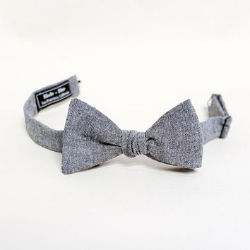 Solid Grey Chambray Bow Tie