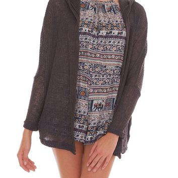 Easygoing Hooded Cardigan - Charcoal