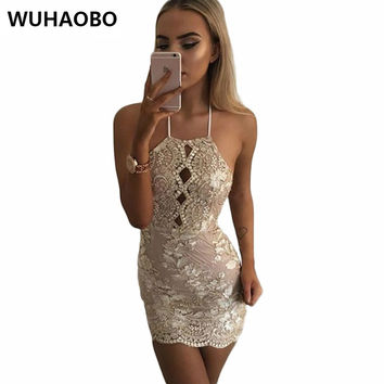 2017 Spring Sexy Party Club Dresses Women Gold Sequin Lace Vintage Dress Halter neck Sequined Bodycon Plus Size Vestido De Festa