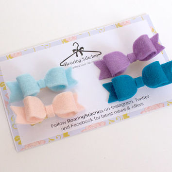 Blue hair bows - peach bow - purple bow - baby blue bow - mini felt bows - toddler hair bows - baby hair clips - pastel bows - summer