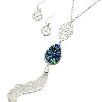 Silver & Blue AB Druzy Tassel Pendant Necklace and Earring Set