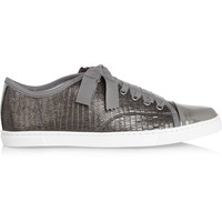 Lanvin - Metallic lizard-effect leather sneakers