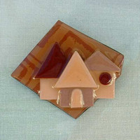 House Pin by Lucinda Signed Margaret Drain Brown Red Tan Vintage Jewelry