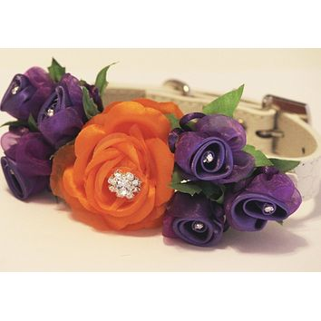 Orange Purple Floral dog collar, Floral Purple Orange wedding