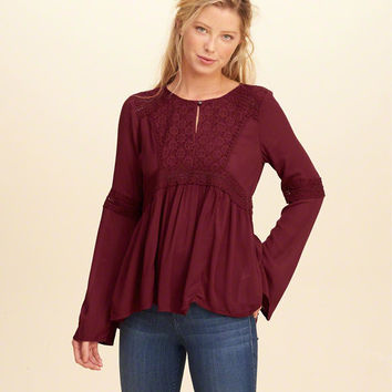 Bell-Sleeve Rayon Peasant Top