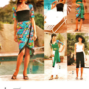 Fabulous Five Easy Pieces Pattern Vogue 2433 - PLUS Sz 14-18 Uncut FF Versatile Cruise & Resort Wear Sewing Patterns Dress Making Supplies