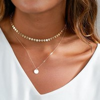 2017 Summer Simple Gold Coin Layered Choker Necklace For Women Multi Layer Chocker Necklaces collar collier ras du cou femme