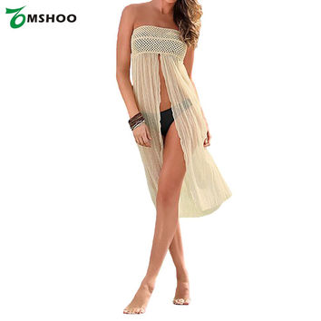 Sexy Women Swimsuit Cover Up Crochet Hollow out Meshy Beachwear Bikini Dress Skirt Summer Beach Beige