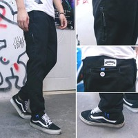 Winter Blue Zippers Embroidery Strong Character Casual Pants [6544256003]
