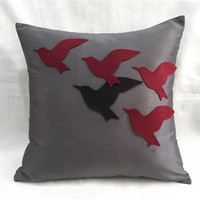 The Unique One. Burgundy Flying Birds Grey Decorative Pillow Cover