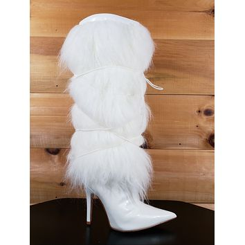 "Cape White Patent Furry Faux Fur Knee Boot Pointy Toe  4.5"" High Heel  6 - 11"