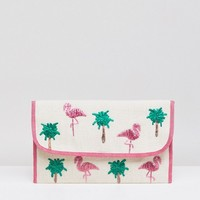 ASOS DESIGN straw flamingo clutch bag at asos.com