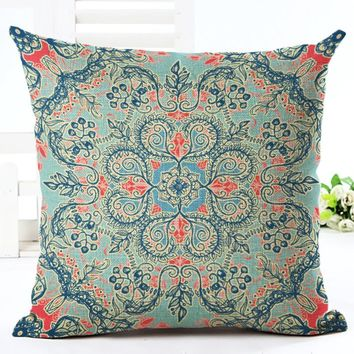 American Vintage Style Pillowcase Linen Cotton Cushion Cover Floral Deer Crown Postal Card Printing Cushions Sofa Pillow Covers
