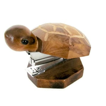Vintage Turtle Stapler, 1970's Wood Turtle Stapler, Turtle Figurine, Desk Accessory, Mid Century, 1970's Decor