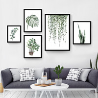 Watercolor Tropical Plant leaves Canvas Art Print Poster , Nordic Green Plant leaf rural Wall Pictures for Home Decoration