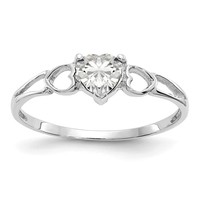 10k or 14k White Gold Genuine White Topaz Heart April Birthstone Ring