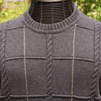 Dockers Dark Gray Cotton Dressy Cable Men's Sweater Size Large