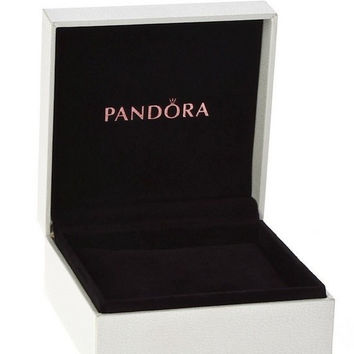 Authentic Pandora Black Velvet White Exterior Hinged Bracelet Box Free Shipping Worldwide Gift Bridal Weddings Brides Jewelry