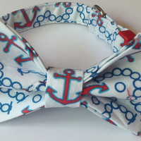 Nautical Summer Collar with Matching  Bow Tie for Dogs and Cats