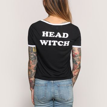 Head Witch Ringer Tee - Tops - Clothes at Gypsy Warrior