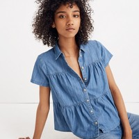 Denim Seamed Button-Down Shirt