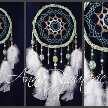 Dreamcatcher Mint Dream Catcher Large Dreamcatcher New Dream сatcher gift idea dreamcatchers boho dreamcatcher wall handmade idea gift mint
