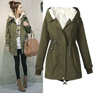 Winter Jacket Women Plus Size 5XL Hooded Long Sleeve Casual Women Green Military Jacket With Fur Casacos De Inverno Feminino#A11