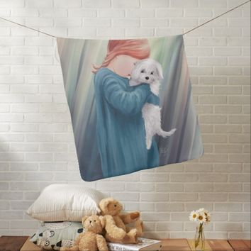 Cute Girl with Dog Baby Blanket